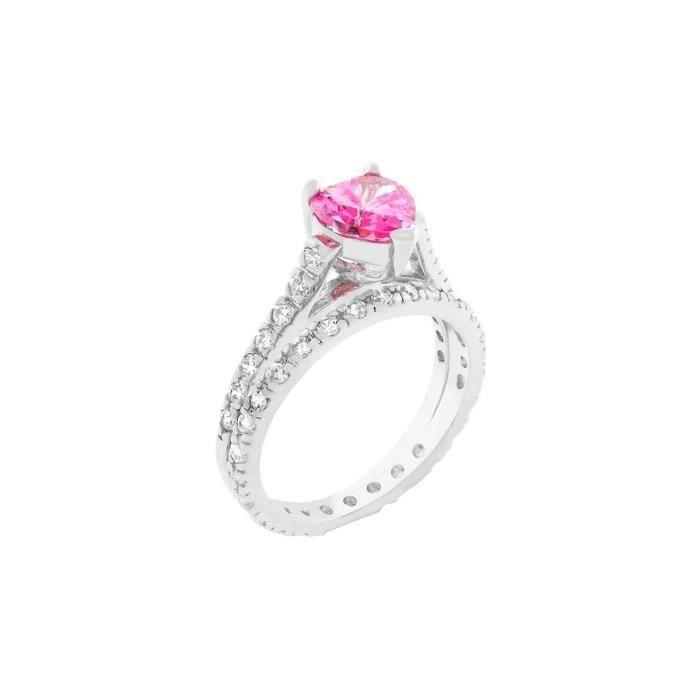 Isady - Setie - Bague femme - Or blanc rhodié - oxyde de zirconium rose forme coeur