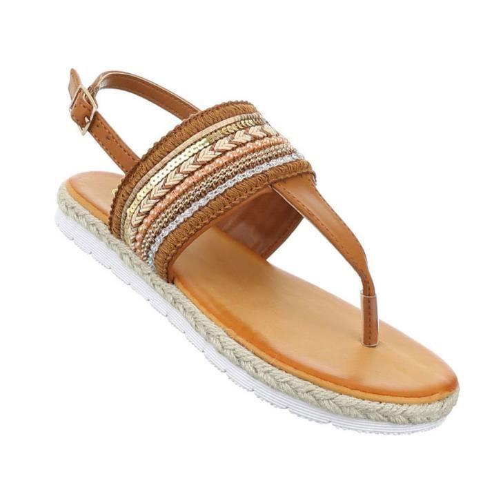 Femme sandales chaussures chaussures de plage chaussures d'été orteils trenner Camel 41