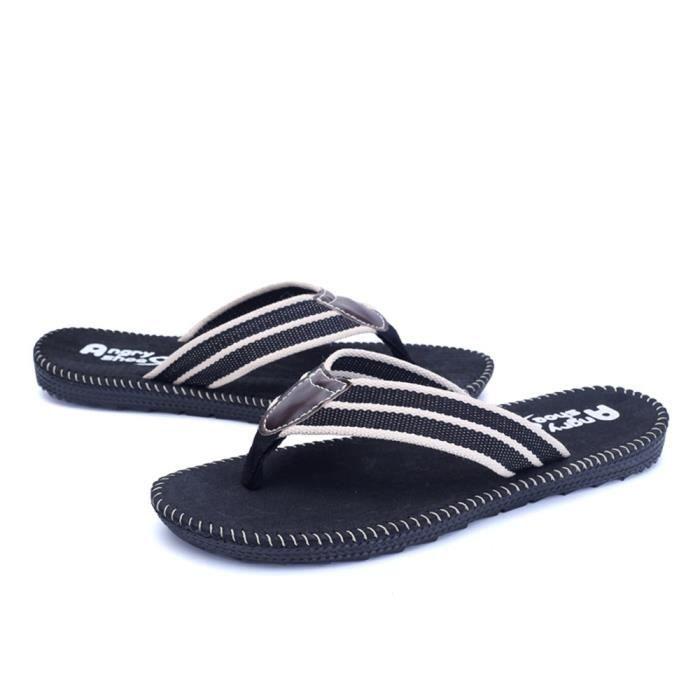 Sandale Shoes Hommes Summer Beach Non-slip Comfortable Classique Plage Chaussures Mode ZX-x002-noir-44