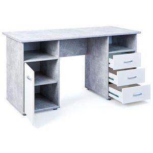 Bureau avec tiroirs couleur bois clair achat vente for Bureau avec niche