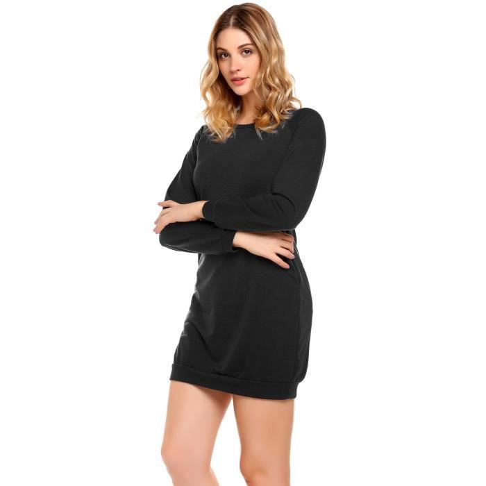 Femmes Robe Casual O-Cou Longue Manches Solid