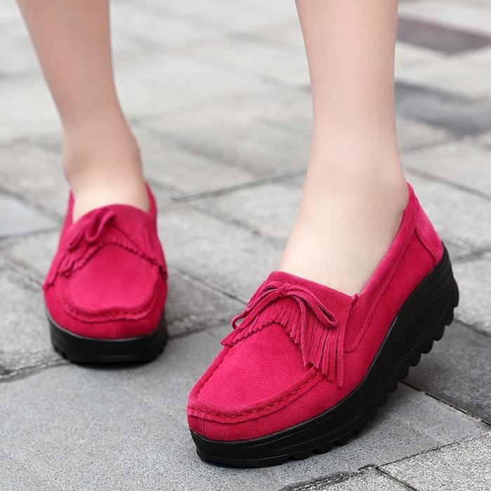 chaussures multisport Femme Automne - hiver femme casual Plate-forme en cuir talon haut rose rouge taille6.5 7SNGI8LDZd