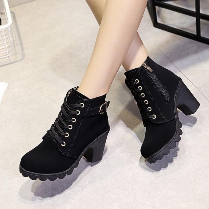 2017 nouvelles chaussures de sport occasionnels de haut talons hauts avec des bottes lâches bottes boucle de ceinture de fond épais