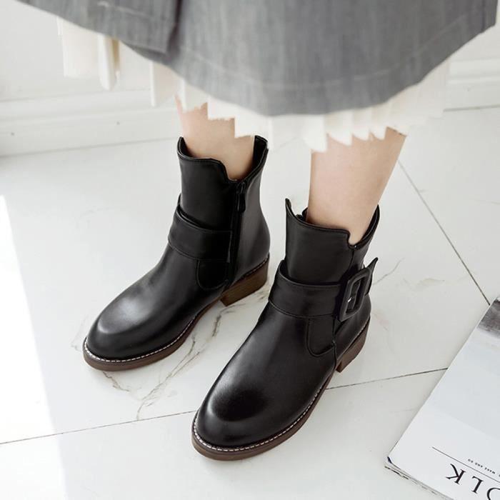 Chaud Cuir Shoes Cheville Femmes Ronde Veberge Rtro 8378 Toe En Bottes Short Solide Mode Martin fxfwYqRE