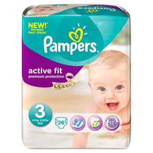 COUCHE PAMPERS Active Fit T3 Maxi 4-9 kg x26 couches
