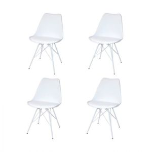 CHAISE PACK 4 CHAISES TOWER MÉTAL BLANCHES 50 cm Multicol