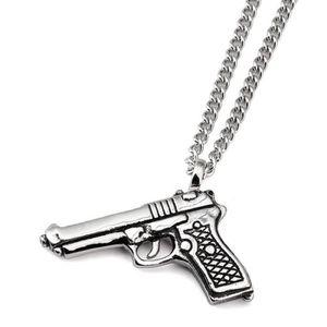 SAUTOIR ET COLLIER Collier de Pendentif Pistolet Plaqué Argent de Pis 8713557c5064