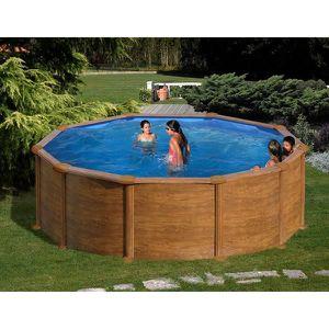 PISCINE Kit piscine hors sol MALDIVAS ronde en acier aspec