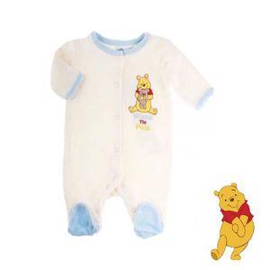 f8abd5ab1e0d9 Pyjama bébé garçons naissance dors bien Winnie l'ourson Disney Baby en  velours grenouillère blanc cassé idée cadeau naissance