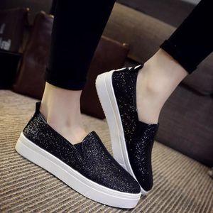 Napoulen®Mode Femmes automne Wild chaussures de talon cachés Slip-on populaire Noir-SJF71023732BK SMgtV