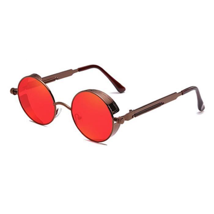 Lunettes de soleil ronde mixte homme et femme Retro sunglasses Métal café/rouge