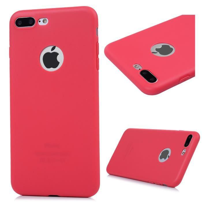 coque iphone 8 plus rouge et transparente