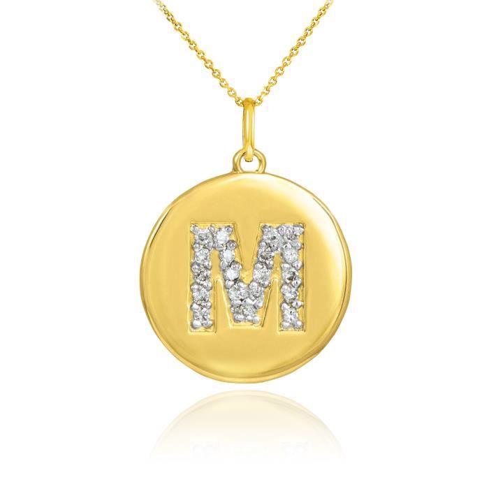 Pendentif 10 ct 471/1000 Or lettre initiale Mpendentif en forme de diamant Disc