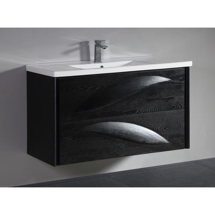 Meuble Salle De Bain Design Luxe 80 cm Noir - Achat / Vente meuble ...