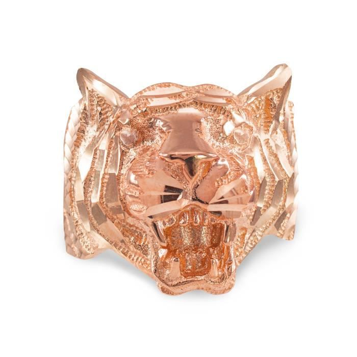 Bague Femme Alliance 10 ct Or rose 471/1000 Diamant Coupe Tiger