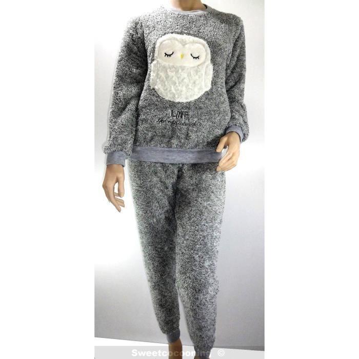 da422dd68e755 Pyjama femme hiver PILOU Chaud   confortable Ve... Vert Vert chiné ...
