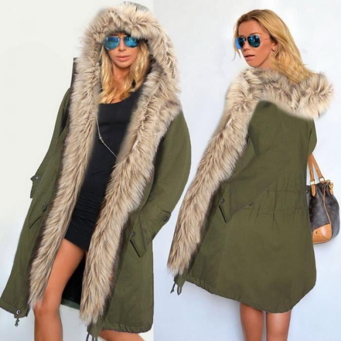 Manteau Parka fausse fourrure Hooded Fleece Front ouvert Vert armée ... 8e3213d806d0