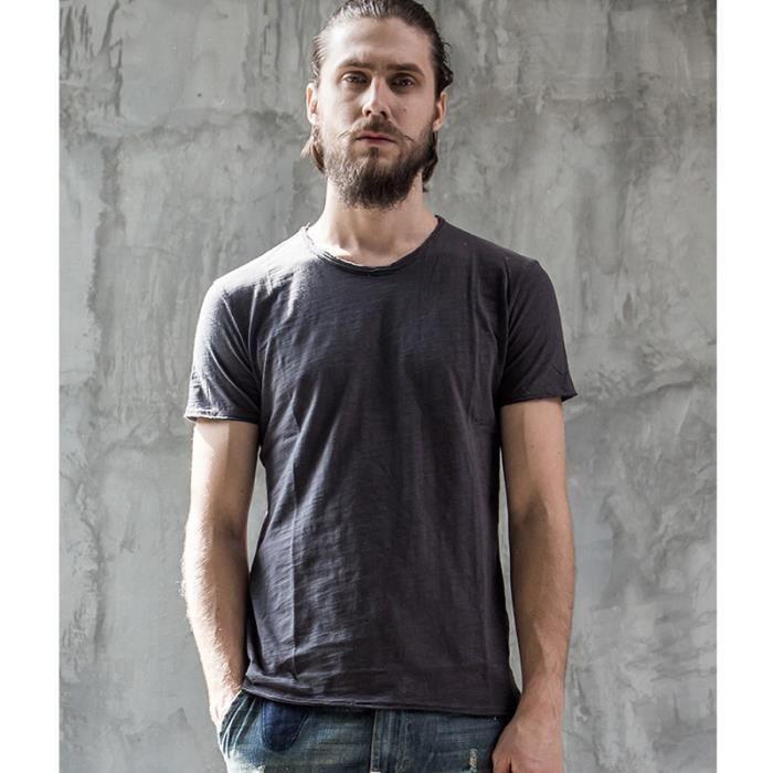 97ff305e1709 Tee Shirt Homme Noir O-cou Mode Manche Court Marque Luxe Pour Homme  printemps et été Style Simple Coton Couleur Unie Tshirts Hommes