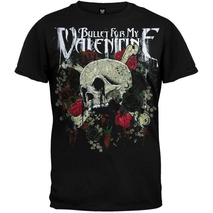 Bullet For My Valentine Skull Roses T-shirt pour Hommes In Noir New Brand  Hommeche courte Printed T shirt eda3ad8eaf49