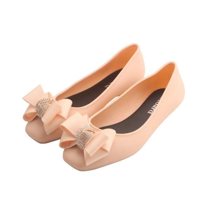 Ballerines en caoutchouc souple gelée Sandales diamant ruban Bow Chaussures femmes QL6XF Taille-39 1-2