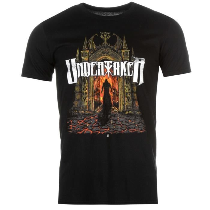 Wwe Undertaker The Col Manche Coton T Shirt Homme Courte Rond Blanc hrQdts