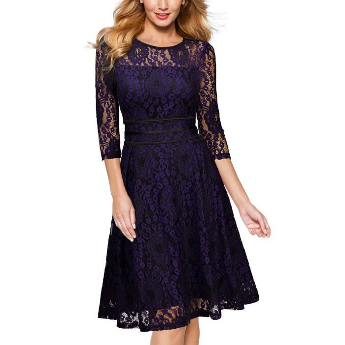 Womens Vintage 1950s Swing 1-2 Sleeve Lace Dress,fromal Evening Party 1940s Tea Dresses For2QUQSV Taille-38