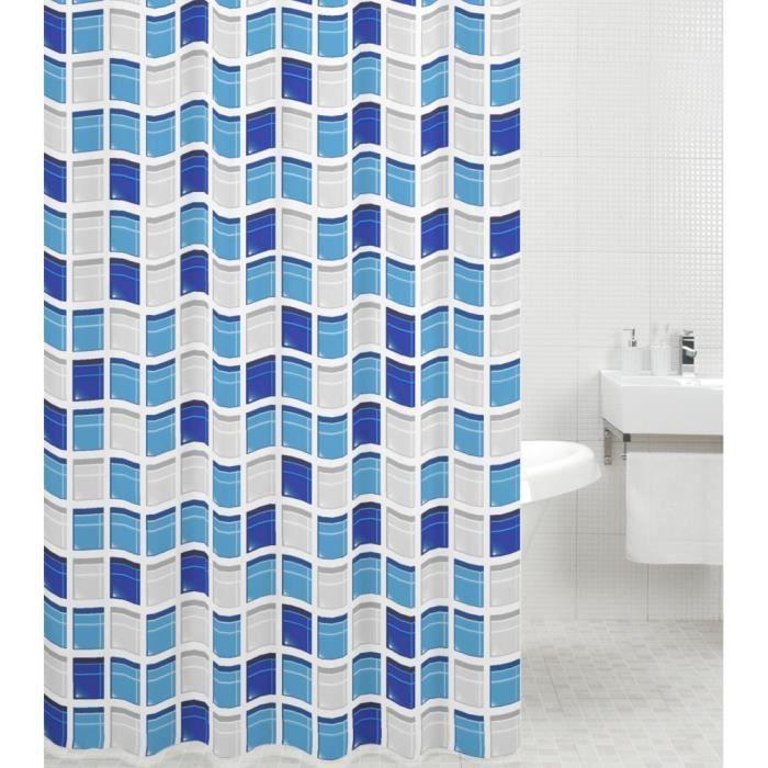 Rideau De Douche Mosaique Bleue 180 X 200 Cm De Haute Qualite 12