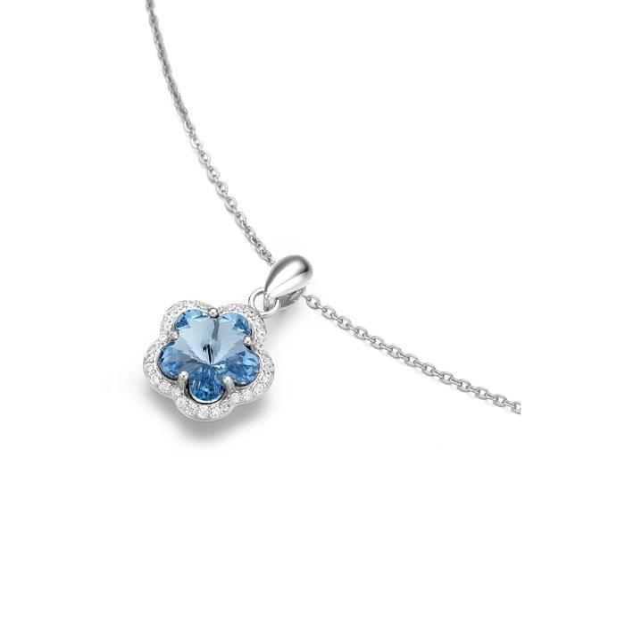 38932aba81c66 Clat Pendentif Fleur Cristal Swarovski Bleu Sur Une Chaîne De 40 cm Z8P0R  ...