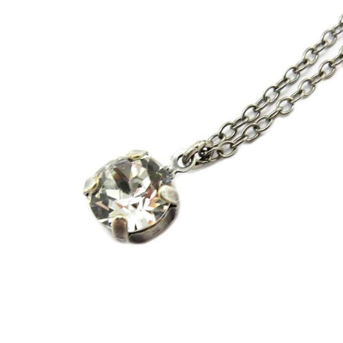 Collier artisanal Tsarine blanc cristal argenté - 8 mm [P4506]