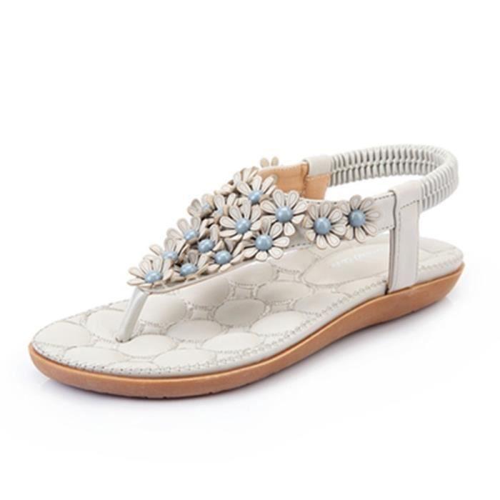 2017 Nouveau Douce Beauté Sandales Bohème Fleur Sandas Mode Chaussures d'été Femmes Souliers simple Sandales Taille 31-44,rose,44