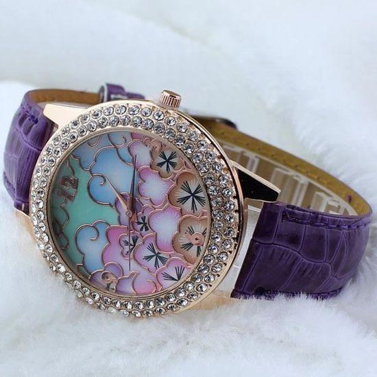 Montre bracelet marron Beau haut - ceinture en cuir fin de modèle de  diamant de la mode Hot , - Achat vente bracelet de montre Mixte Adulte  Marron - ... 64d64bbb493