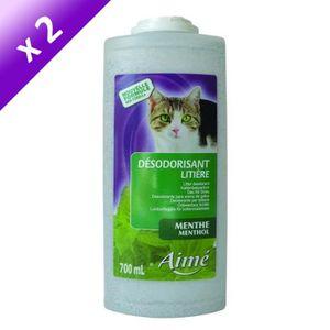 Lot de 2 - AIME Désodorisant pour liti?re menthe 700 ml - Pour chat