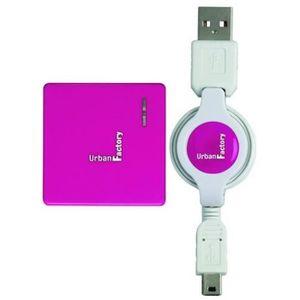 URBAN FACTORY Concentrateur Crazy Hub USB - 4 ports 2.0 - Retractable - Fushia