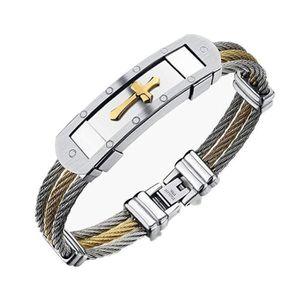 BRACELET - GOURMETTE Bracelet en cuir pour homme en acier inoxydable av