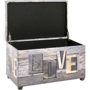 COFFRE - MALLE Coffre de rangement en simili gris - Motif Love -