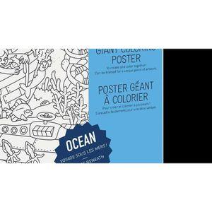 KIT DE DESSIN Poster à colorier 100 x 70 cm Océan  Incolore