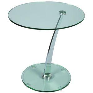 TABLE D'APPOINT Guéridon en verre, L600 x P500 x H550 mm