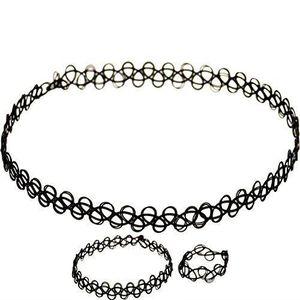 ae8a6f0d3d8 SAUTOIR ET COLLIER Noir Lot de 3 Collier ras du cou bracelet bague st