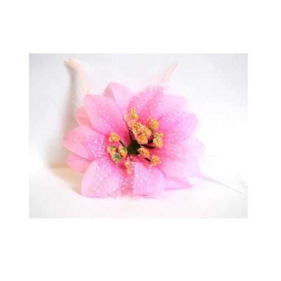 Pince Cheveux Pompon Fleur Orchidee Rose Finition Strass Plumes