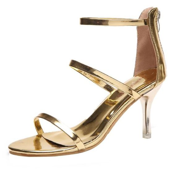 Fashion Femmes Zip Round Toe Pumps-Slip On Comfortable Work High Heel Party Shoes Or_Cu*6340  Or - Achat / Vente slip-on