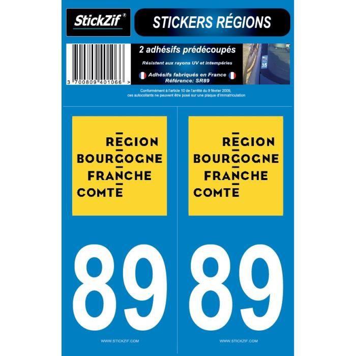 STICKZIF 2 Autocollants Région Département 89 SR89