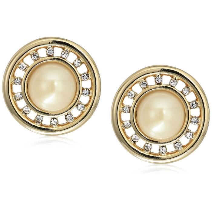 Carolee Majestic Pearl Round Pearl With Pave Button Clip-on Earrings IE20C