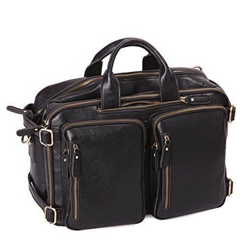 Genuine Leather Multifunction Backpack Messenger Bag XEY3W
