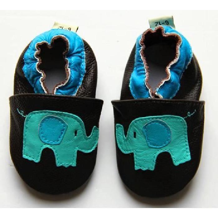 Chaussons ENFANT Cuir Souple 6-12 mois elephant