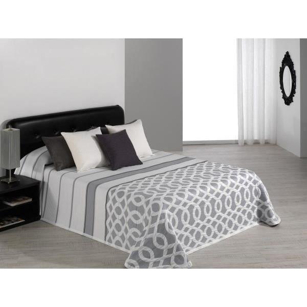 Couvre lit 235x270 cm tissé jacquard Calson gris pour lit de