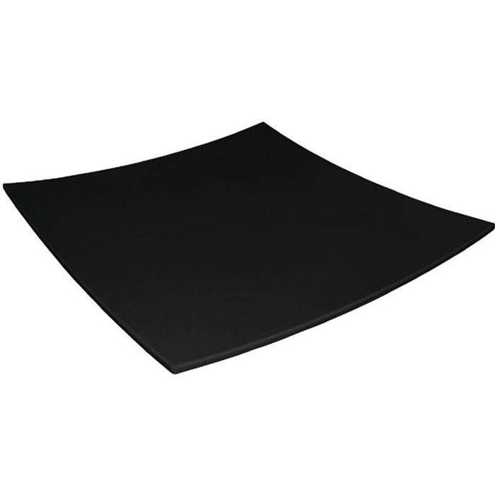 incurv e assiette carr e en m lamine noir 300mm achat. Black Bedroom Furniture Sets. Home Design Ideas