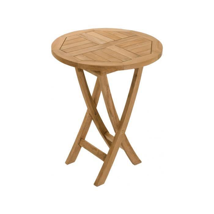 TABLE BASSE Table pliante ronde 60 cm en bois massif Hévéa col