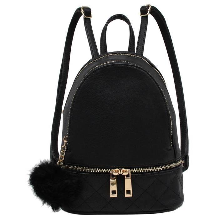 ed565cb647 CRAZYCHIC - Sac à Dos Femme Petite Taille Mini - Cartable Fille Cuir  Matelassé - Fashion Backpack Mode Ville Collège Tendance - Noir