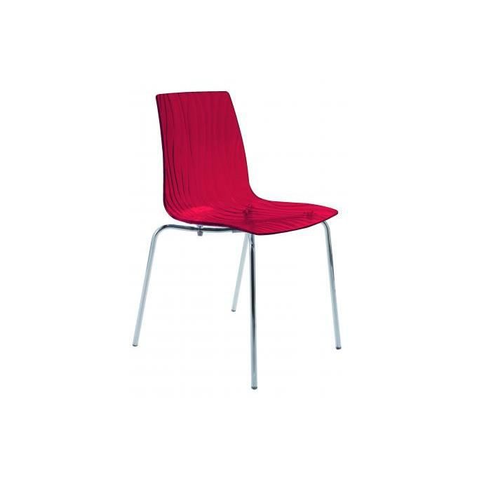 CHAISE Chaise Design Transparente Rouge Olympie