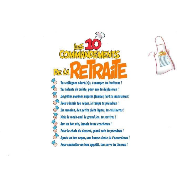 Tablier les 10 commandements de la retraite achat vente tablier de cuisine soldes d s le - Les tables des 10 commandements ...